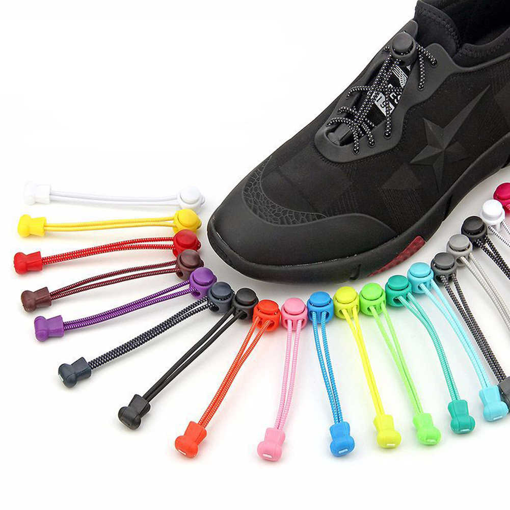 1 قطعة للجنسين لا التعادل قفل أربطة الحذاء المستديرة حلوى لون مطاطا أحذية رياضية كسول أربطة أحذية عالية الجودة بالجملة