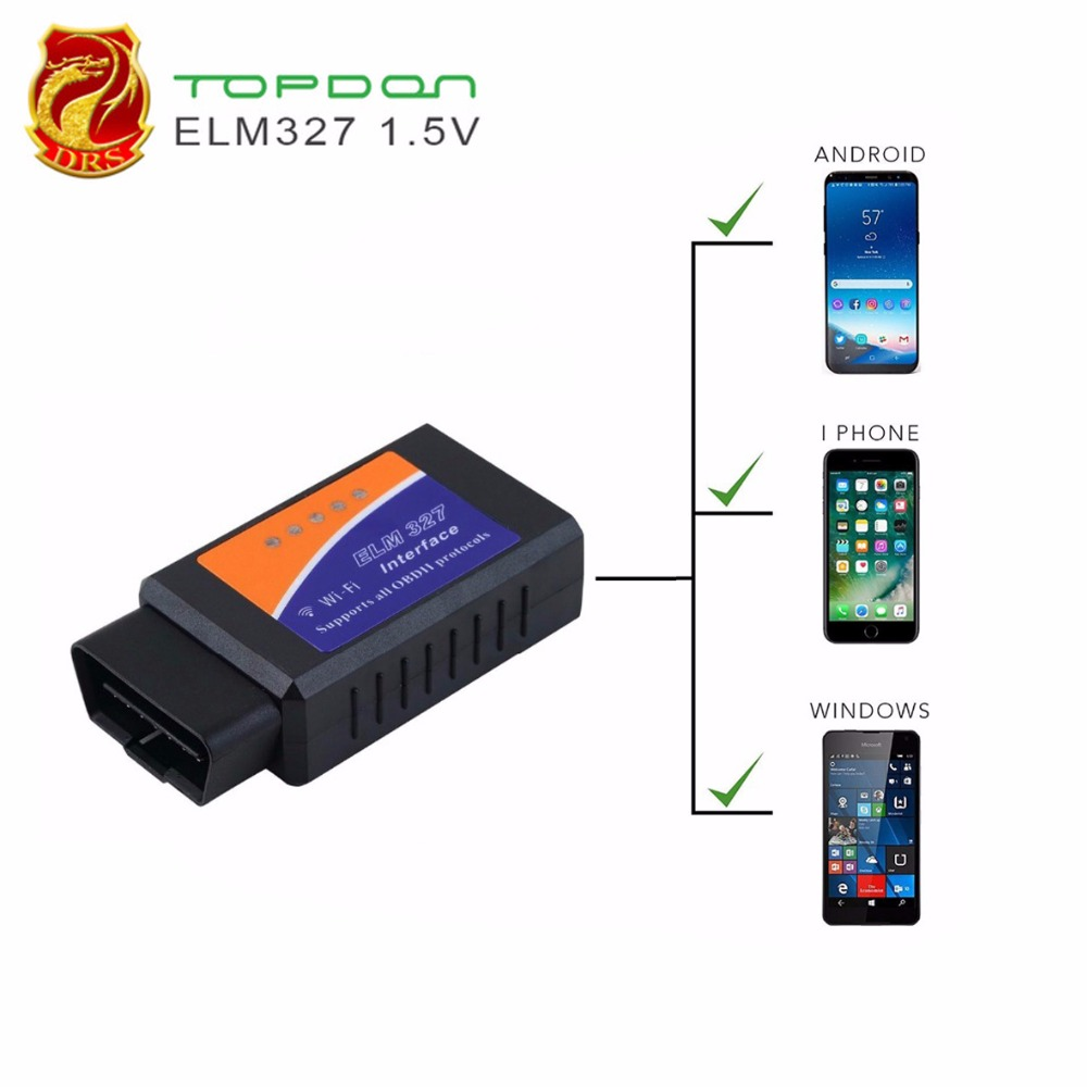 PIC18F25K80 CHIP WIFI ELM327 Wireless OBD2 Scan Tool Vehicle Fault Code Reader WIFI ELM 327 OBDII Scan Tool for IOS/Android/PC