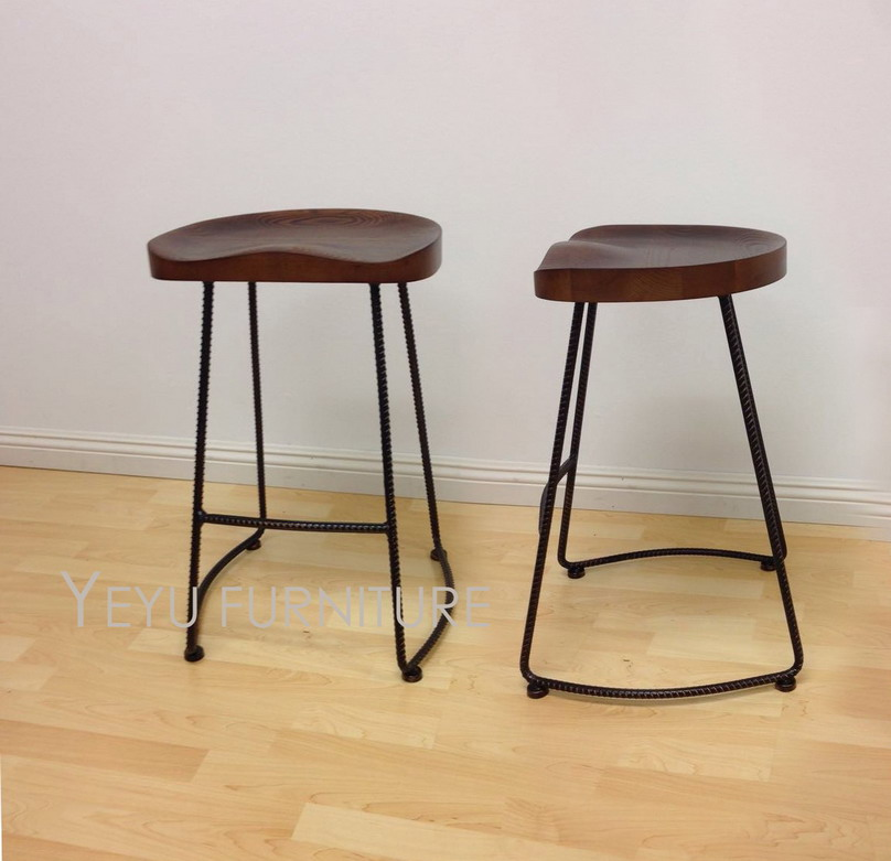 Minimalist Modern Design Solid Wood And Metal Leg Fashion Popular Bar Stool Modern Home Commercial Kitchen Counter Stool Sh66cm