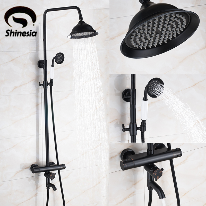 Oil Rubbed Bronze Thermostatic Shower Faucet 8 Rainfall Shower Head with Handheld Shower Wall Mount thermostatic shower faucet set bathroom thermostatic faucet chrome finish 8 shower head with handheld shower wall mounted tr524