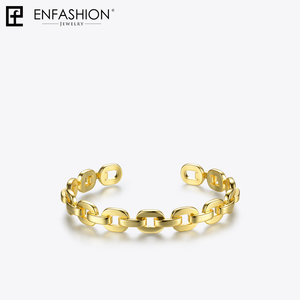 Image 5 - Enfashion Pure Form Small Link Chain Cuff Bracelets Gold Color Brass Bangles For Women Accessories Jewelry Bijoux BF182032