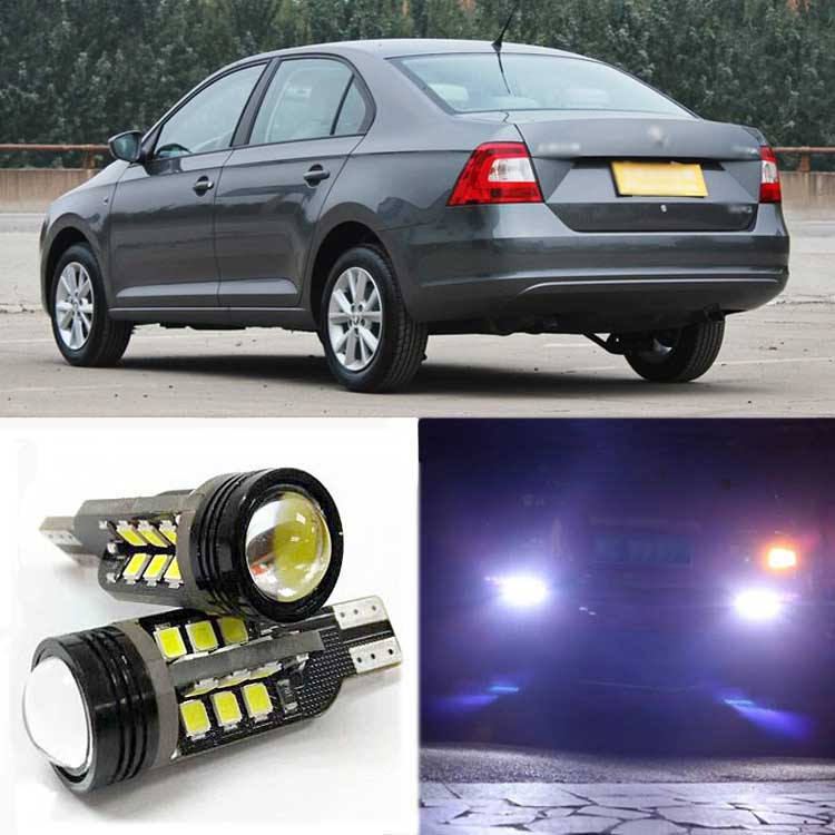 Brand New Superb Error Free 5050 SMD 360 Degrees LED Backup Reverse light Bulbs T15 For Skoda Rapid