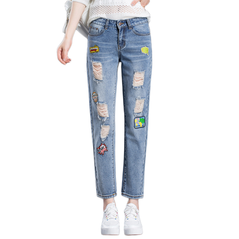 Summer Jeans Women Fashion Badge Patchwork Denim Pants Ladies Vintage Harem Pants Plus Size Female Loose Jeans Bleached Trousers 2014 new fashion reminisced men vintage trousers casual jeans wash capris pants loose plus size overalls zipper denim jumpsuit