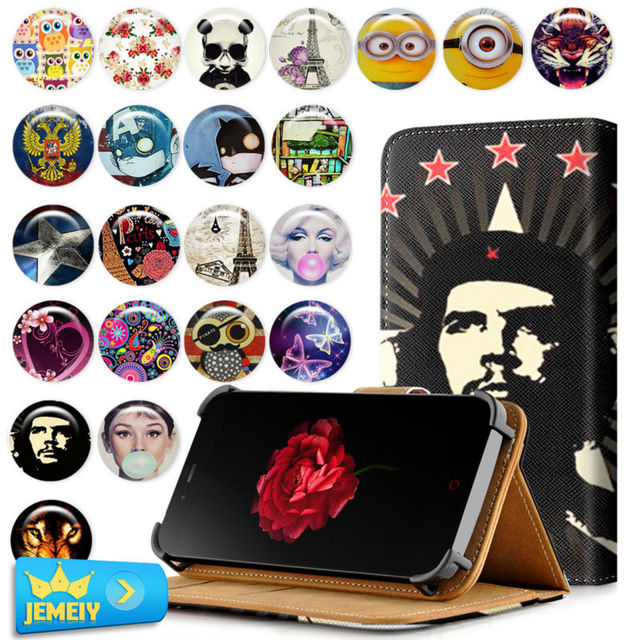 Cute Flora Printed Case For ZTE Blade Vec 3G 4G /L370 /X7 Case Universal Leather Stand Flip Case For ZTE Phone Cover Middle size