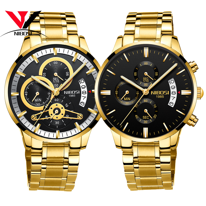 [Ship From SP BR] Relogio Masculino Mens Watches Top Brand Luxury Gold Watch Men Waterproof Stainless Steel Relogio NIBOSI