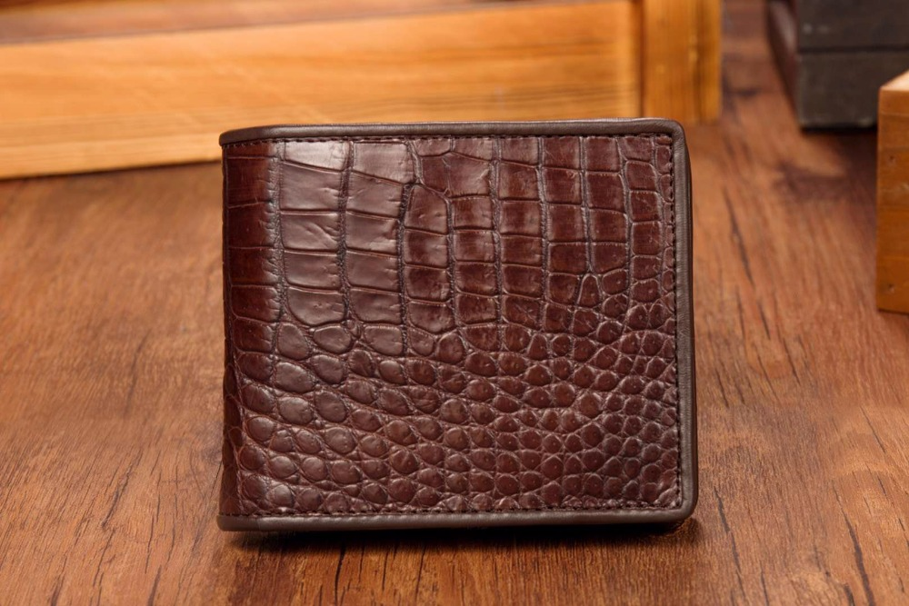 Genuine Crocodile Alligator Wallets Skin Leather Bifold Men/'s Money Clip Brown