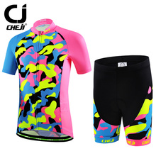 Cheji Kids Cycling Jersey Suit Colorful Printing Children Bike Clothing Pro Bicycle Clothes Comfortable Nice Sports