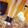 2017 new fashion spring summer woman canvas shoe PU casual shoes woman Height Increasing platform shoes