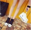 2017 nova moda primavera verão mulher sapata de lona PU mulher sapatos casuais Altura Crescente sapatos de plataforma