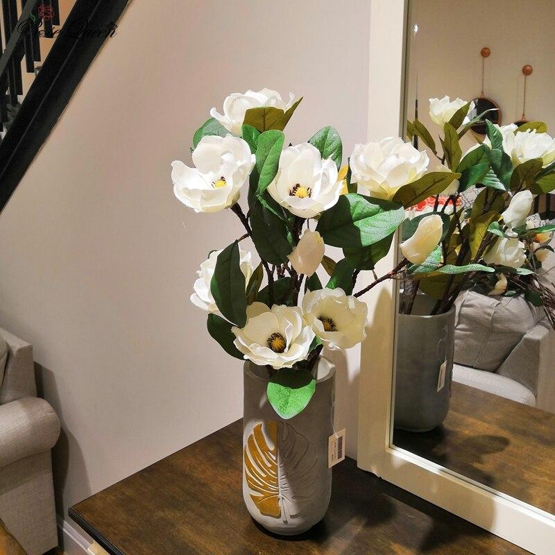 Faux fleurs artificielles flores impression 3D fleurs de Magnolia en soie artificielle pour la décoration de la maison décoration de mariage fleur 1p
