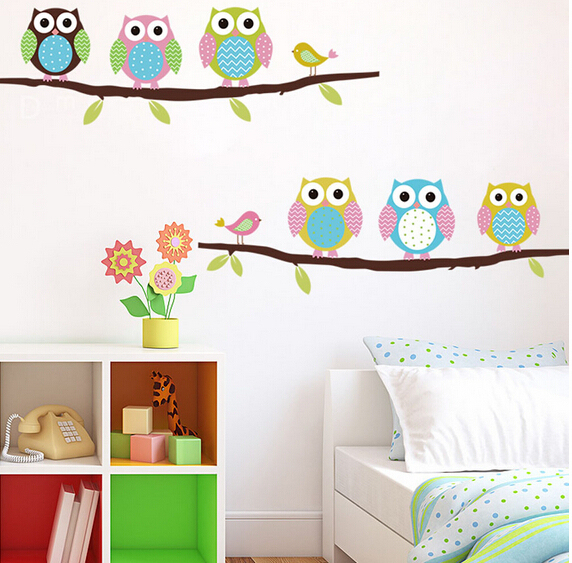 3d DIY Six Owls on Tree Wall Sticker For Kids Rooms Wallpaper Stickers Art Decor Mural Kid's Child Room Decal Home Decoration