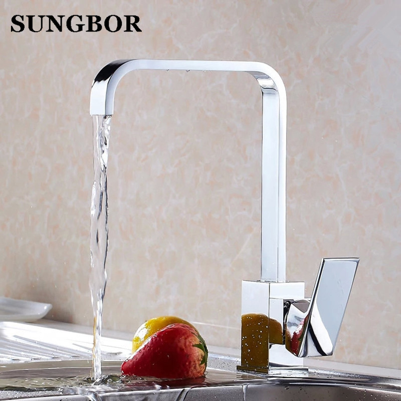 Modern Luxury square Brass plate chrome kitchen faucet hot and cold mixer sink faucet 360 rotating
