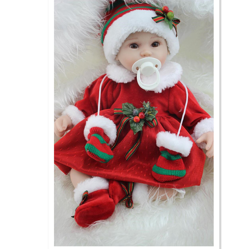 Cute Silicone Reborn Baby Dolls Toys for Children's Christmas Gift,35 CM Lifelike Baby Doll with Clothes short curl hair lifelike reborn toddler dolls with 20inch baby doll clothes hot welcome lifelike baby dolls for children as gift
