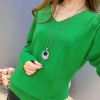 2019 New Fashion Women's Pullover Sweater Lady V neck Batwing Sleeve Cashmere Wool Knitted Solid Color Wear Loose Size 4XL