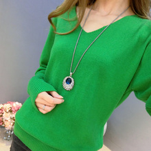2019 New Fashion Women's Pullover Sweater Lady V-neck Batwing Sleeve Cashmere Wo