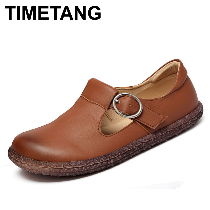 TIMETANG New Full Grain Genuine Leather Women Flats Fashion Spring Summer Casual Shoes 3 Colors T828 2016 new fashion camellia women genuine full grain leather flat heel single shoes ladies working leather flowers ballet flats