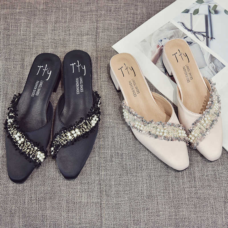 Chowaring NEW 2018 Spring Autumn Pointed Toe Chunky Heels Mules Slippers  Casual Shoes Woman Flats Slides 5a4b4ce87f6c