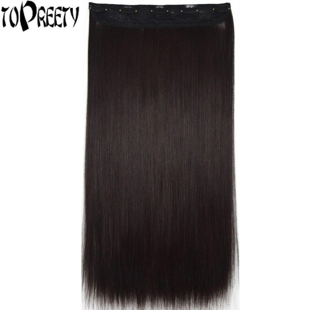TOPREETY Heat Resistant B5 Synthetic 24 60cm 120gr Silky Straight 5 clips on clip in hair Extensions