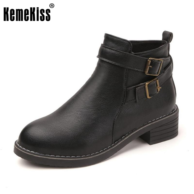 KemeKiss Autumn Shoes Women Med Heel Ankle Boots Women Buckle Strap Side Zipper Shoes Women Round Toe Winter Botas Size 35-39 hxrzyz autumn ankle boots women increased wedges new round toe thick heel female anti skid side zipper shoes black winter boots