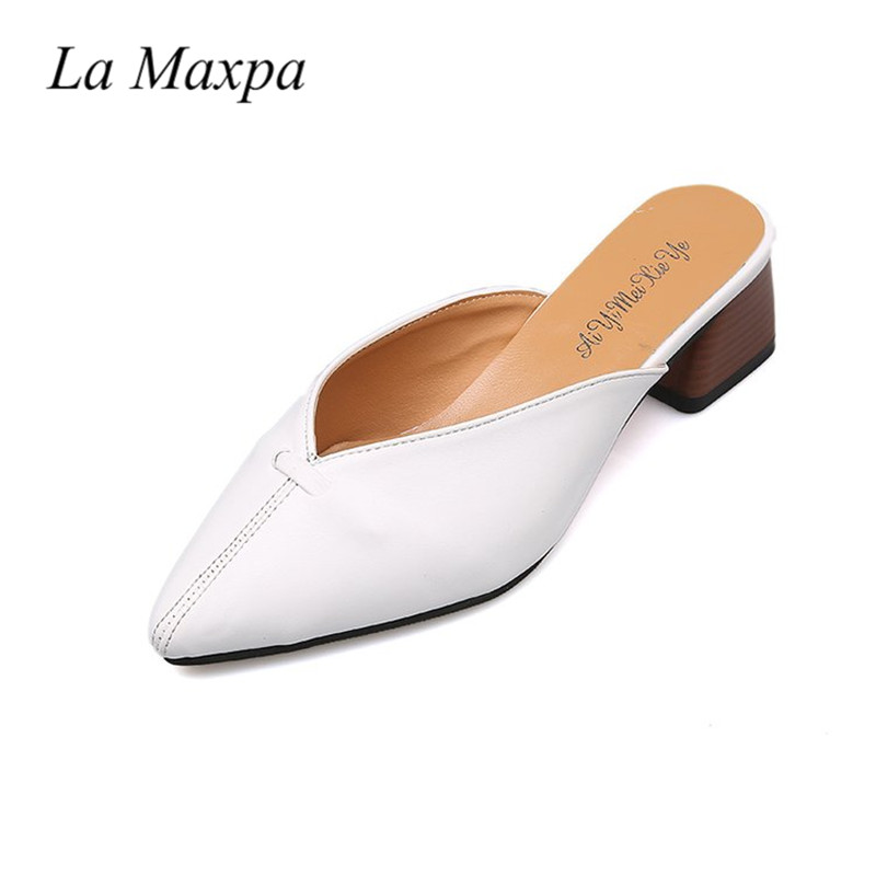 все цены на Vintage Patent Leather Pointed Toe 5cm Thick High Heels Women Slipper Mules Slides Sandals For Lady Stiletto Summer Casual Shoes онлайн