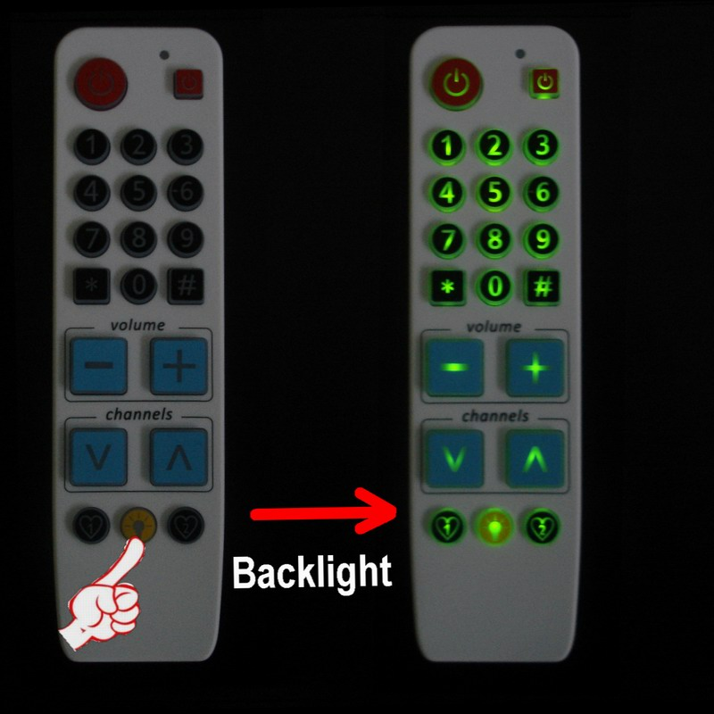 Learning Remote Control with backlight, Big button controller easy use for TV VCR STB DVD DVB
