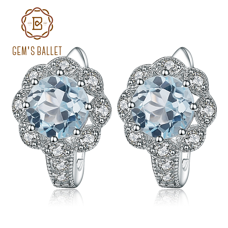Gems Ballet 925 Sterling Silver Vintage Earrings 3.33Ct Round Natural Sky Blue Topaz Gemstone Earrings for Women Fine Jewelry