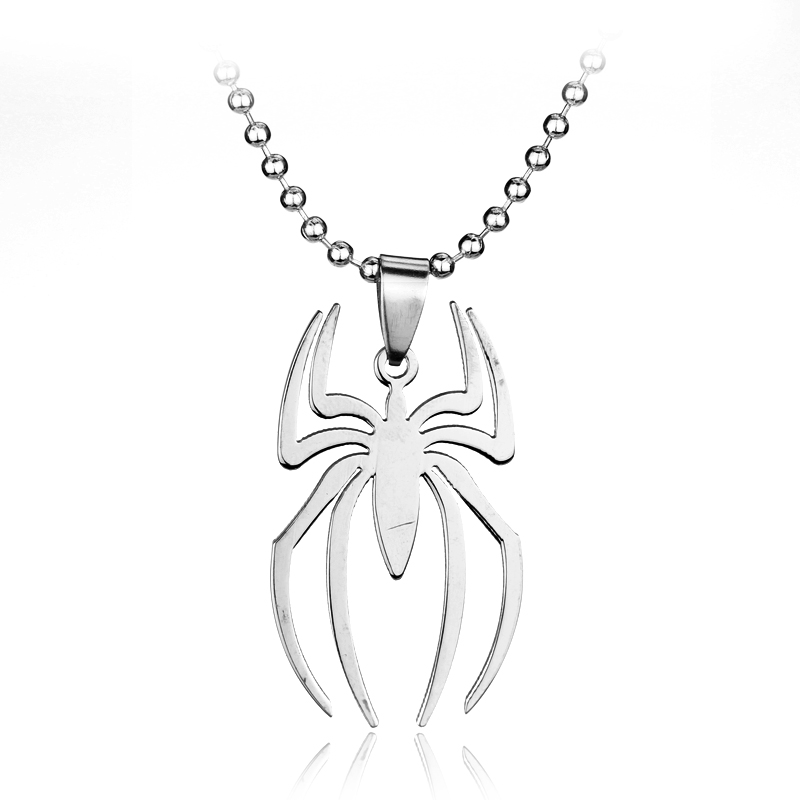 SG Fashion Jewelry Simple Silver Spiderman Stainless Steel Necklace Spider Charm Necklace With Beads Chain For Men Gift