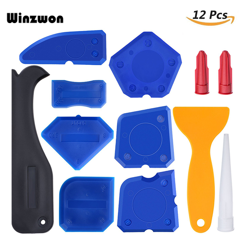 Household Cleaning Tools 12pcs/lot Silicone Remover Tool Caulking Spatula Sealant Finishing Grout Scraper Floor Cleaning Tile Dirt Tool With Nozzle Caps With Traditional Methods Household Cleaning
