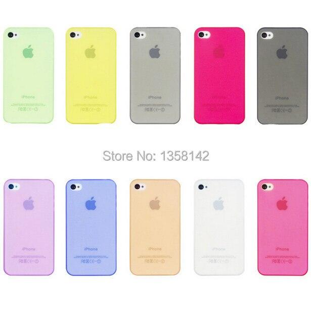 Бесплатная доставка 10 видов цветов 0.3 мм супер ультра тонкий Тонкий прозрачный Мягкая ПП кожа случае крышка В виде ракушки для iphone 4 4S 4S случа...
