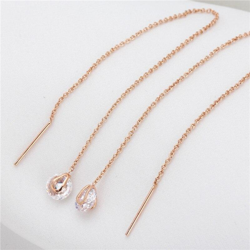 PISSENLIT Silver Long Drop Earrings Round Gold Silver Earrings Women Jewelry New Fashion Grace Woman Korean Jewelry Girls Gifts in Drop Earrings from Jewelry Accessories