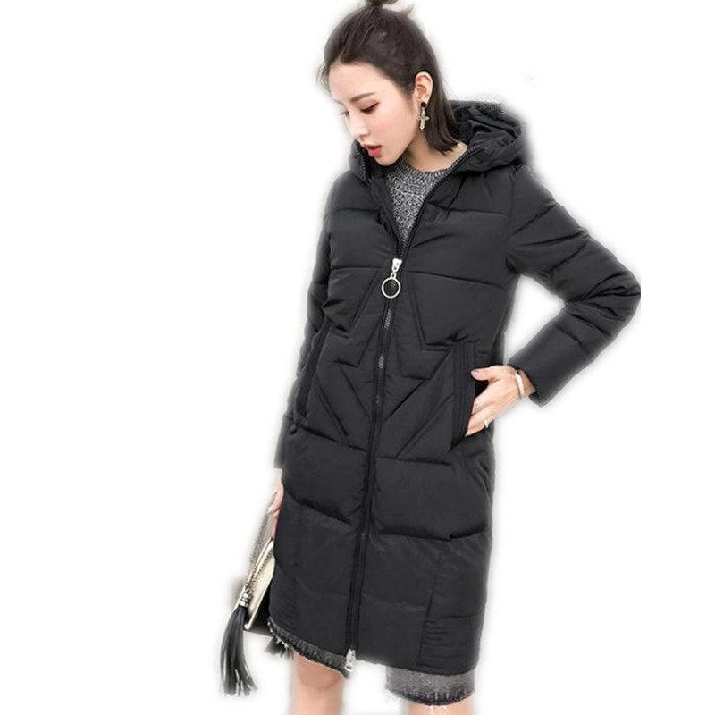 2017 New Simple Winter&Autumn Down Cotton Medium-Long Jacket Parka Female Hooded Wide-Waisted Loose Outerwear Cotton Parka CQ524 3 colors l 2xl 2015 new women winter down cotton padded coat female long hooded wide waisted jacket zipper outerwear zs247