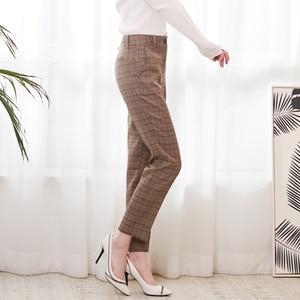 Image 3 - Bella Philosophy Spring Plaid Pants Women Casual High Waist Long Pants Female Zipper Office Lady check Pants Bottoms