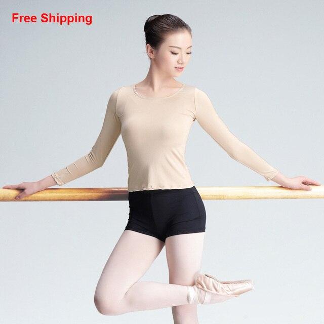 48781ed4117f7 US $10.9  Professionelle Langarm nude Hohe Elastische Tanz Unterwäsche  Erwachsene Mädchen Frauen Gymnastik/Ballett Tanz Hautfarbe Tops in ...