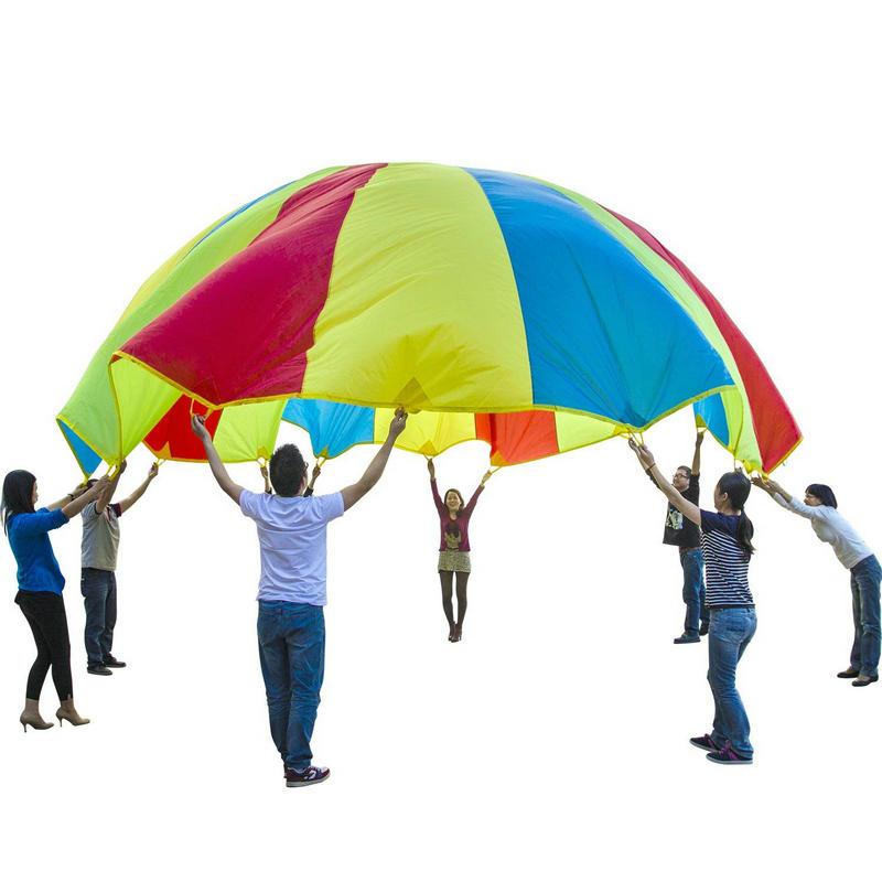 Enfants Sports en plein air arc-en-ciel parapluie, 16 pieds/5 mètres Parachute jouet Parents enfants Camping jouet interactif pour saut-sac jouer - 5