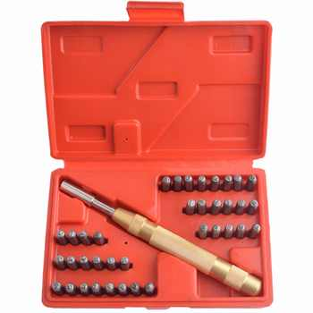 38pcs Automatic Letter Number Leather Stamping Punch Metal Stamp Set Tool Kit for Plastics Leather Metal Punch Imprint Stamp Die