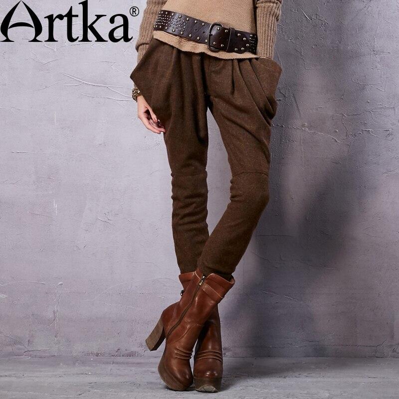 ARTKA damska wiosna nowy w stylu Vintage bawełna Plaid wełny spodnie na co dzień pełnej długości spodnie Harem KA15156Q w Spodnie i spodnie capri od Odzież damska na  Grupa 1