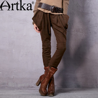 Artka Women S 2015 Autumn New Vintage Cotton Solid Color Wool Pants Casual Full Length Harem