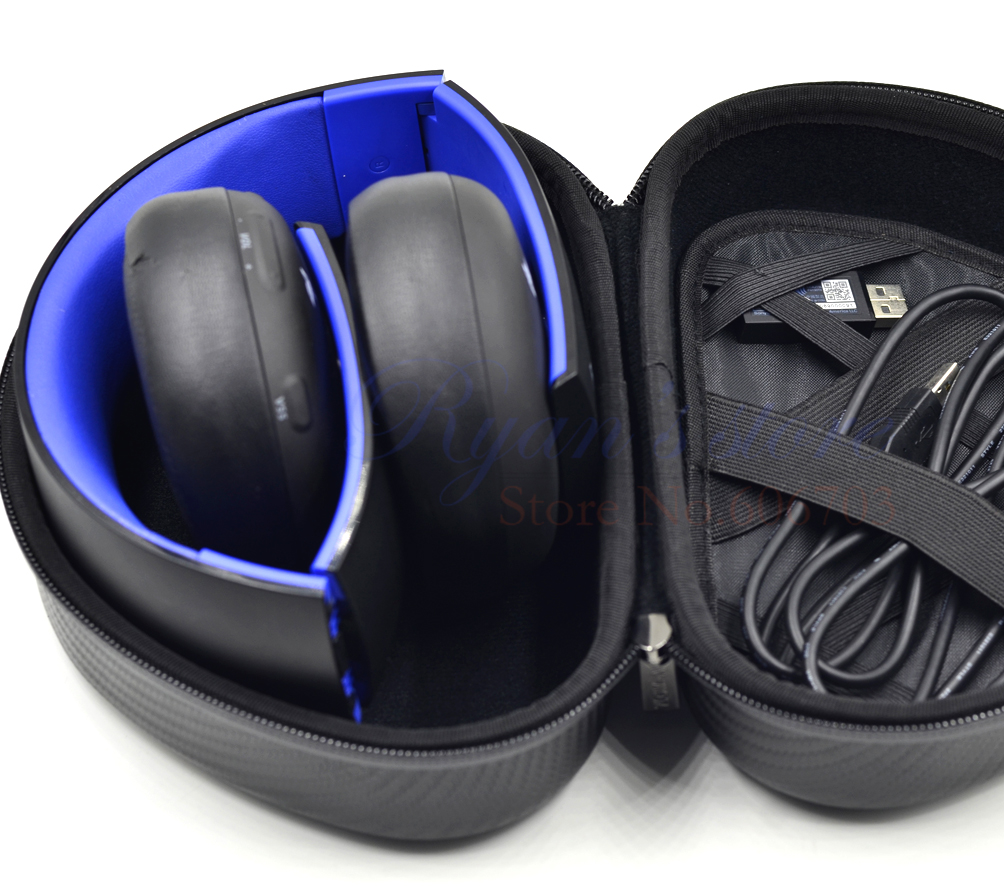 imágenes para Partable case bolsa para sony ps3 ps4 7.1 virtual surround auriculares sin hilos de oro