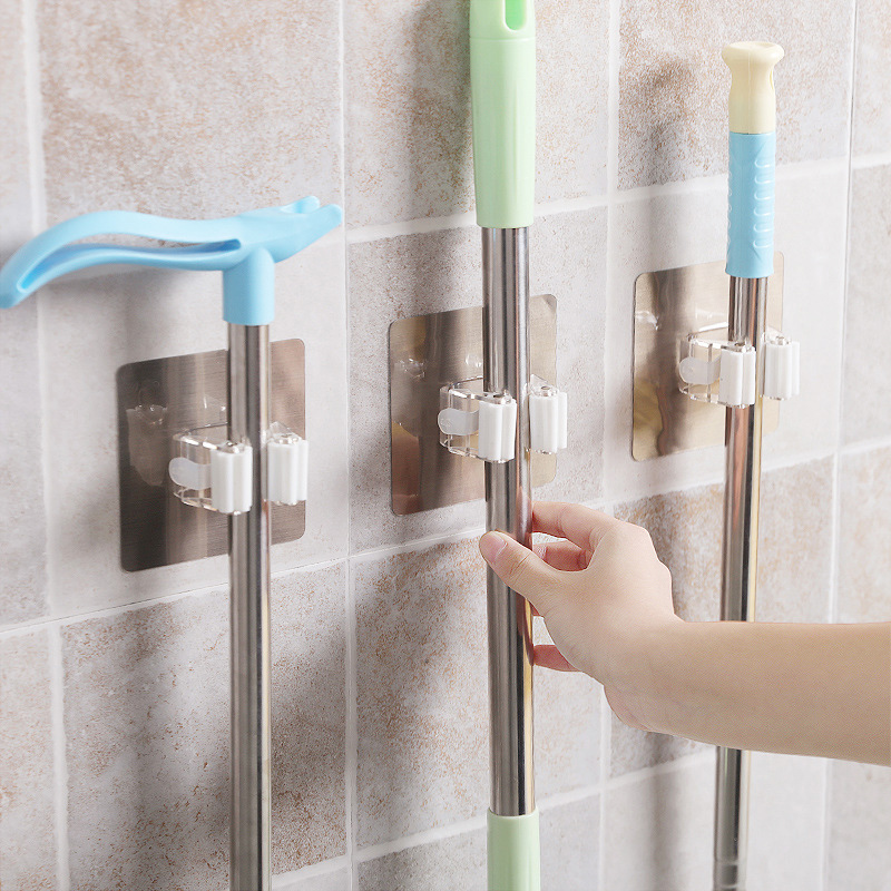 1PC New Wall Mounted Kitchen And Bathroom Wall Broom Holder Use As Hanging Cleaning Tools 11