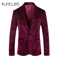 YUNCLOS Paisley Jacquard Blazer for Men Slim Fit Wedding Party Suit Jackets Mens Blazer Jackets blazer masculino Red Host Blazer