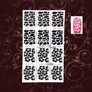 Наклейки для дизайна ногтей с леопардовым принтом Jaguar, шаблоны, трафареты PWJV220, белые пустые Цветочные наклейки для ногтей, Аэрограф, лак, Ли...