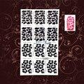Hot Sale Leopard Jaguar Print Nail Art Sticker Template Sticker Stencils PWJV220 White Hollow Flower Nail Decals Airbrush Polish