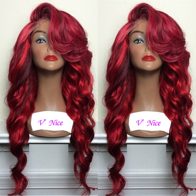 Wine Red With Bright Red Highlights Synthetic Lace Front Wig Body