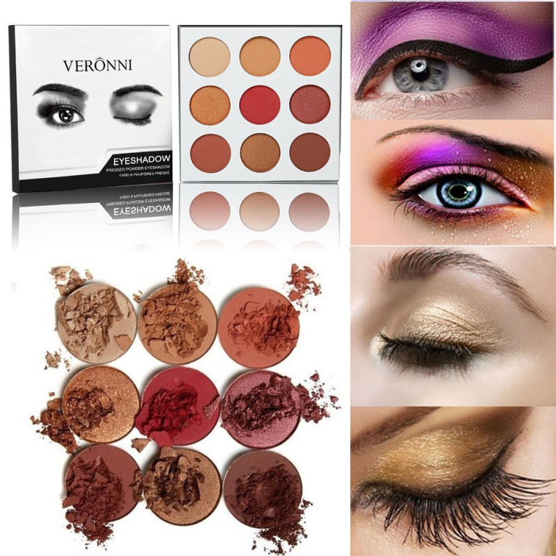 9 Colors Women Eye Shadow Pallete Make Up Cosmetic Makeup Waterproof Long Duration Eyeshadow Matte Shining New
