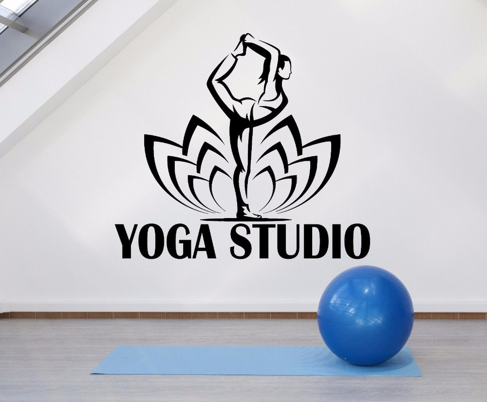 Yoga Studio Logo Wall Decals Vinyl Yoga Pose Lotus Flower Wall Stickers Yoga Studio Decoration Mural Shop Window Decor H38 Wall Stickers Aliexpress
