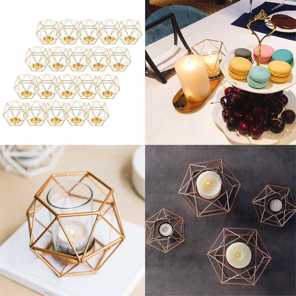 20pcs Iron Wire 3D Geometric Candle Tea Light Holder Home Decor Party Supplies for Wedding Christmas