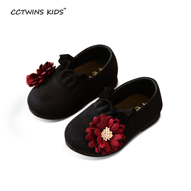 CCTWINS KIDS spring autumn baby girl fashion princess shoe toddler brand pu leather flats for children flower slip-on