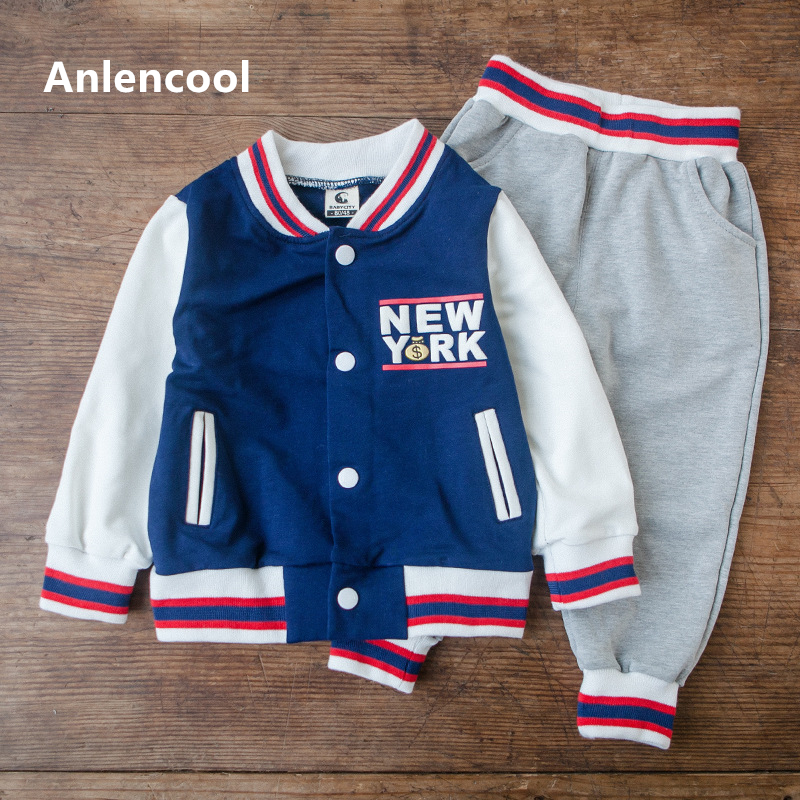 Anlencool High quality new arrive baby boys clothes set hoodied clothes suit 2 colors boys sports suit Retail and free shipping дождевики reisenthel дождевик mini maxi azure dots
