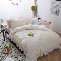 Cute Korea Style White Color Girls Boho Bedding set Queen size 4/6pcs Thick Fleece Winter Bed set Duvet cover set Bedsheet