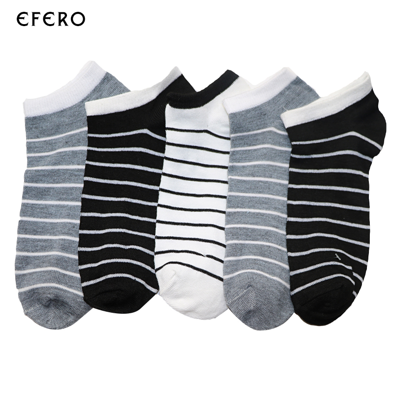 5Pairs Summer Socks For Men Solid Color Striped Mens Ankle Socks Low Cut Boat Socks Short Male Dress Meias Calcetines Hombre